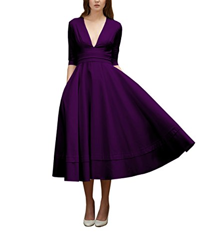 Des Femmes Dreamdress V-cou Demi-manches Robes De Soirée De Thé Longueur Satin Violet Fête