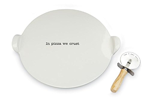 Pizza Stone and Pizza Cutter Set, 14 1/4'' Diameter. by MP001