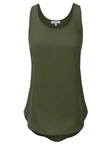 L/s Woven Top (JJ Perfection Women's Plain Sleeveless Scoop Neck Woven Tank Top S.Olive L)