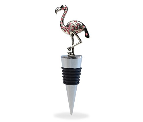 Puzzled Reusable Flamingo Wine Stopper, 5 Inch Metal Champagne Sealer Elegant Cork Airtight Plug Inserts Strong Grip Leak-Proof Beer Beverage Bottle Toppers Wild Bird Themed Bar Tool & Accessory (Plated Stopper Champagne)