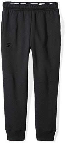 Starter Boys' Jogger Sweatpants with Pockets, Amazon Exclusive, Black with Embroidered Logo, S (6/7) (Sweatpants Kids Black)