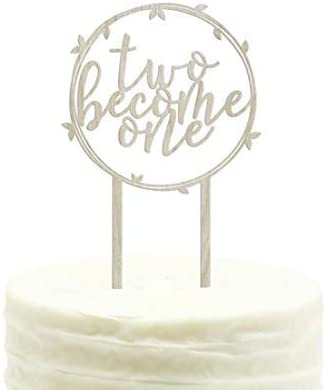 Amazon Com Andaz Press Wedding Wood Cake Toppers Two Become One 1 Pack Vow Renewal Decor Decorations Health Personal Care