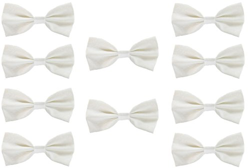 Udres Men Formal Tuxedo 10 Pack Solid Color Satin Bow Tie Classic Pre-Tied Bowtie (One Size, White) -