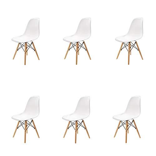 N / A Pack 4/6 sillas, sillas de Comedor Silla de Oficina Silla de salon, Silla diseno nordico Retro Estilo (Blanco-6)