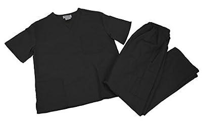 Natural Uniforms Comfortable Fit Men's Scrub Set Medical Scrub Top and Pants M Black