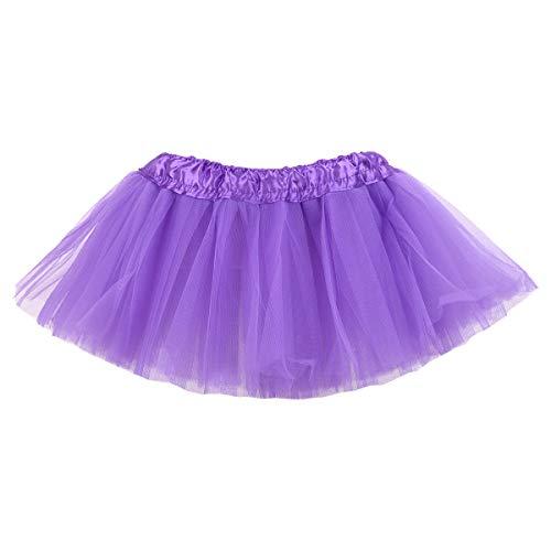 (belababy Baby Girl Tutu 5 Layers Tulle Halloween Dress Up Skirt (Dark Purple, 0-24)
