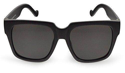 SoMuchSun Oversized Low Nose Bridge Sunglasses (River 6052) (Black Matte, Polarized - Low Sunglasses Bridge