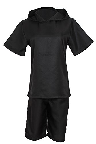 Ken Kaneki Costume (Nuoqi Japanese Anime Black Cosplay Costumes Mens Halloween Clothes Set GC34B-M)