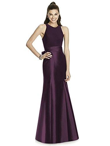 Forever Alfred Sung Style D737 Floor Length Mikado Trumpet Skirt Formal Dress - Sleeveless Halter Neck - Aubergine - 10 - Alfred Sung Bridesmaid Gowns