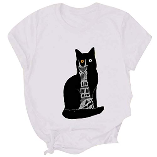 Sumen Cat Printed T-Shirt for Women Cute Funny Graphic Tee Girls Short Sleeve Tops White ()