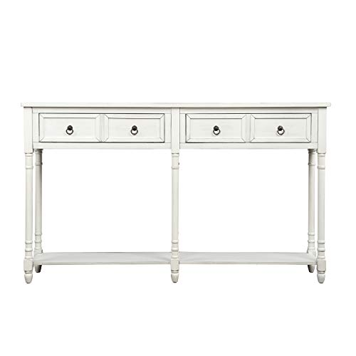 M&W Rustic Wood Console Table with 2 Drawers, Sofa Table for Entryway, Hallway and Living Room, Off White Finish