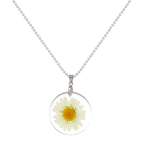 stylesilove Womens Pressed Natural Daisy Flower Resin Pendant Necklace(White with Leather Rope) (White with Leather Rope) (White with Silver Chain)