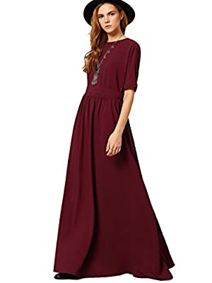 ROMWE Women's Casual Long Dress Half Sleeve Pleated Maxi Dress