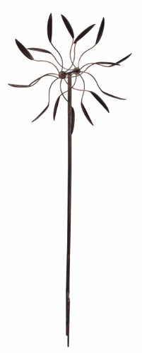 Panacea 88862 Kinetic Art Windmill with Dual Leaf Spinner, 60-Inch Height, Bronze Finish (Art Windmill)
