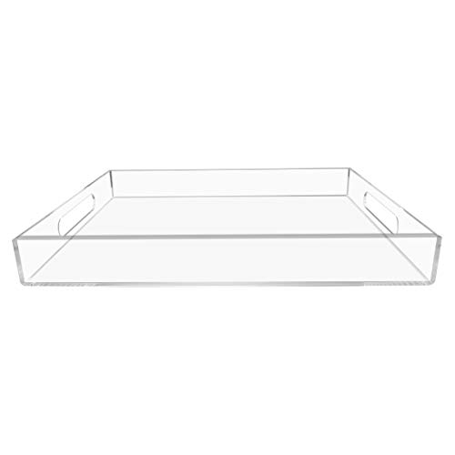 NIUBEE Clear Serving Tray 12x16 Inches -Spill Proof- Acrylic Decorative Tray Organiser for Ottoman Coffee Table Countertop with Handles (Glass Tv Tray)