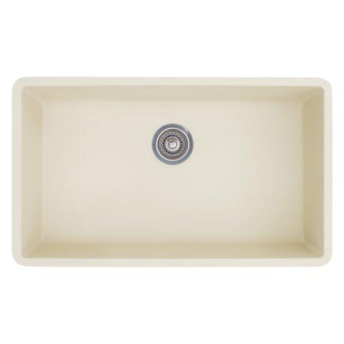 Undermount Sink Biscuit (Blanco 513-410 Precis 440151 Super Single Bowl SILGRANIT 80% Granite Undermount Kitchen Sink, Biscuit, 32