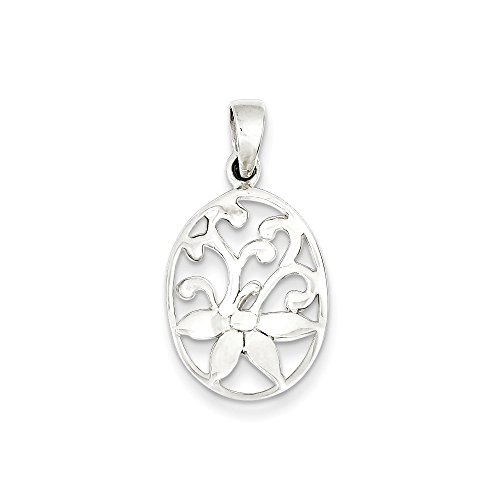 - 925 Sterling Silver Oval Filigree Flower Pendant Charm Necklace Gardening Fine Jewelry Gifts For Women For Her