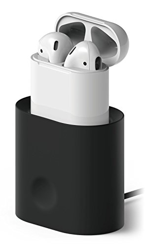 elago AirPods Stand [Black] - [Compatible with Apple AirPods 1 & 2][Charging Station][Long-Lasting][Cable Management] - for AirPods 1 & 2