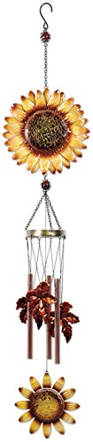Sunset Vista Designs 14917 Sunflower Metal Wind Chime, Color Crackle Glass (Hummingbird Feeder Crackle)