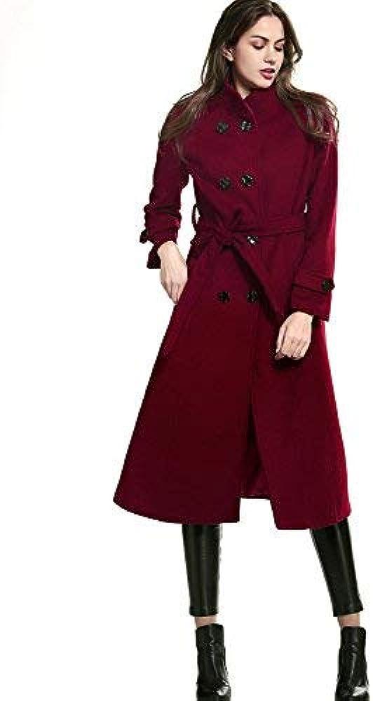 10a1e43da67 Amazon.com: Escalier Women's Double-Breasted Trench Coat Wool Jacket ...