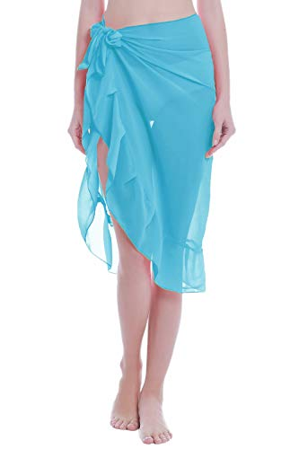 ChinFun Women's Ruffle Sarongs Cover Up Beach Wrap Slit Skirts Bathing Suit Shawl Semi-Sheer Swimwear Solid Sky Blue