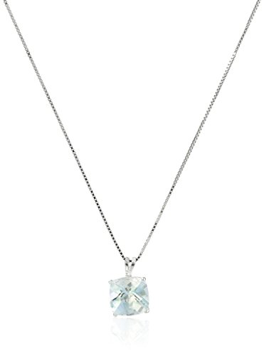 Sterling Silver Cushion-Cut Checkerboard Aquamarine Pendant Necklace ()