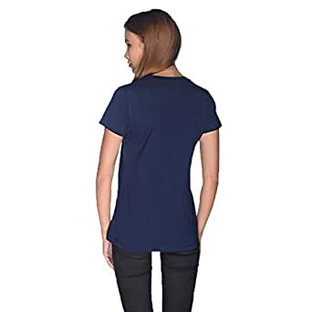 Creo Green Beard Skull T-Shirt For Women - M, Navy Blue