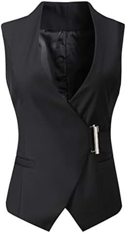 Vocni Women's V neck Sleeveless Slim Fit Economy Dressy Suit Vest Waistcoat