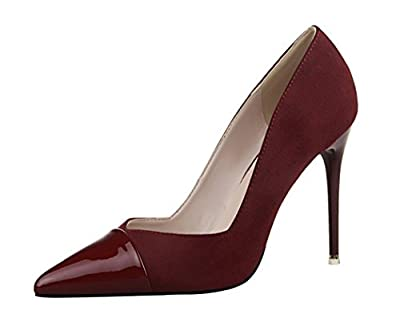Hydne Women's Fashionable Simple Elegant Korean Pointed Shoes Suede Leather Thin High Heels Shoes