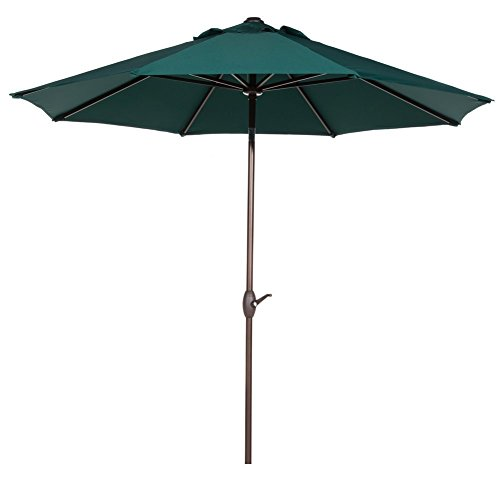 Umbrella Frames Patio (Abba Patio Outdoor Patio Umbrella 9 Feet Patio Market Table Umbrella with Push Button Tilt and Crank, Dark Green)