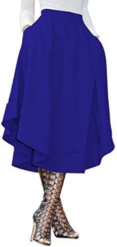 Dear-Queen Women's Making Waves High Waist A Line Street Skirt Skater Pleated Midi Skirt - Queen Street Shopping On