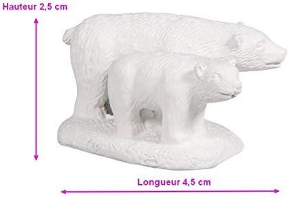 Rayher Figurine en résine Ours Blanc, Hauteur 2,5cmx4,5cm, avec
