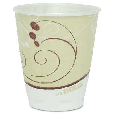 SOLO Cup Company Symphony Design Trophy Foam Hot/Cold Drink Cups, 8oz, Beige, -