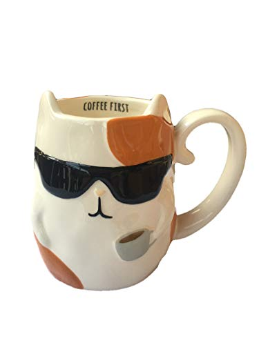 TAG Cat With Sunglasses and Coffee Figural Hand Painted Mug 16 Ounce - Coffee - Hand Painted Figural