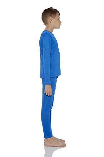 Rocky Boy's Smooth Knit Thermal Underwear 2PC Set Long John Top and Bottom Pajamas (Blue, L)