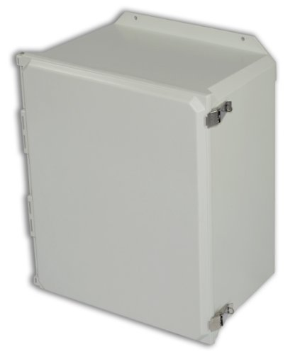 Allied Moulded AMU2060LF Ultraline Series Fiberglass JIC Size Junction Box, Snap Latch and Hinged Cover with Mounting Flanges and Opaque Cover