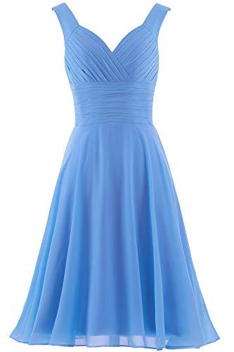 Dress Gown Short (ANTS Women's V-Neck Chiffon Bridesmaid Dresses Short Prom Gown Size 6 US Pale Blue)