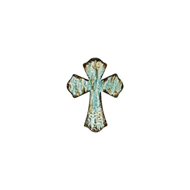 Rustic Turquoise Metal Wall Cross with Embossed Swirls