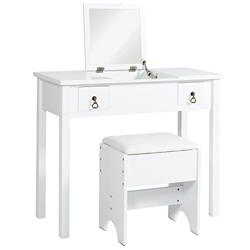 Best Choice Products Vanity Dressing Table Set w/ Mirror, Stool, Storage Boxes (White) by Best Choice Products