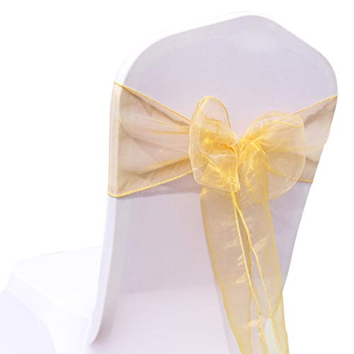 BIT.FLY 100 Pcs Organza Chair Sashes for Wedding Banquet Party Decoration Chair Bows Ties Chair Cover Bands Event Supplies - Gold ()
