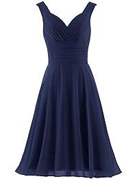 e4944021b4d Women s V-Neck Chiffon Bridesmaid Dresses Short Prom Gown