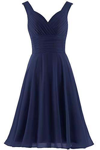 ANTS Women's V-Neck Chiffon Bridesmaid Dresses Short Prom Gown Size 16 US Navy Blue