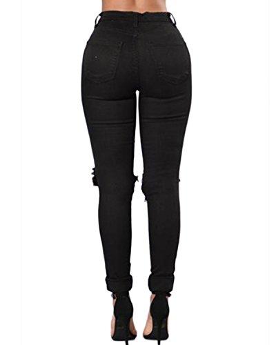 Auxo Jeans Mujer Cintura Alta Vaqueros Pantalones Rotos Leggings Elásticos Jeggings Negro