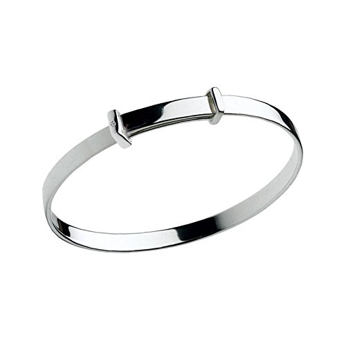 Silver Christening Diamond Adjustable Bangle For Babies And Toddlers