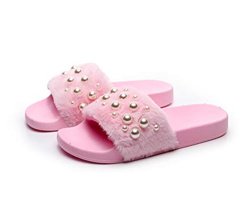 - Women's Fur Sandals Flip Flop Soft Flat for Indoor Outdoor Light Pink 6-6.5 B(M) US