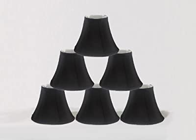 "Urbanest Chandelier Lamp Shades, Set of 6, Soft Bell 3""x 6""x 5"" Black , Clip On"