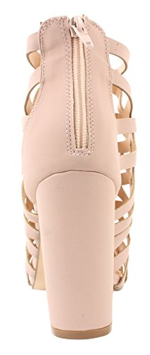 Sandali Gladiatore Donna Enimay 4 Zip Back Tacco Alto Casual Formale A Punta Aperta Rosa