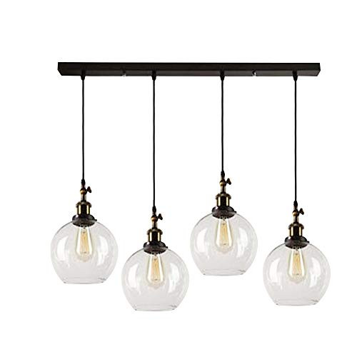 SUSUO Lighting 4-Lights Retro Country Style Clear Glass Isla