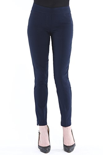 Vincenté Women's Super Slimming Perfect Comfort Fit Pull On Ankle Leg Pant with Contoured Waistband and Tummy Control, Color Midnight Size 6