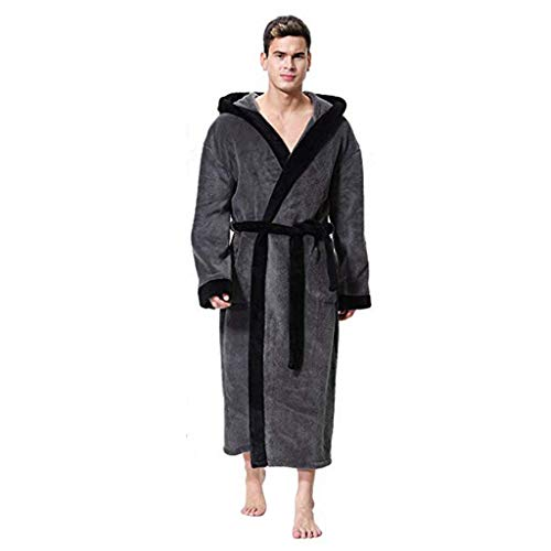 Halter Cover Terry Cloth (AgrinTol Men's Lengthened Patchwork Coralline Plush Shawl Bathrobe Long Sleeved Robe)